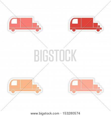 assembly realistic sticker design on paper trucks transport goods