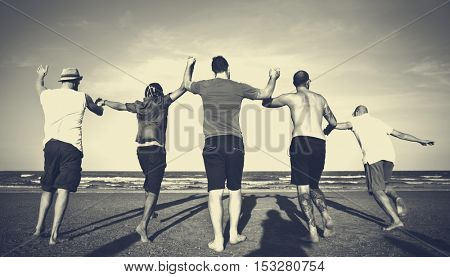 Young People Running Cheerful Concept