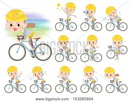 Set of various poses of Behind knot hair women ride on bicycle