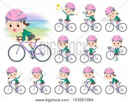 School Girl Green Blazer Ride On Rode Bicycle