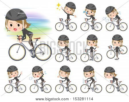 Set of various poses of Short hair black high necked women ride on bicycle