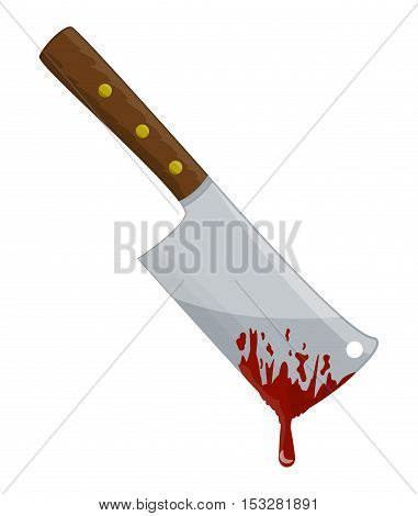 Kitchen Butcher Chopper With Blood Vector Symbol Icon Design.