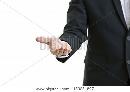 Young Man Giving Empty Hand On Colorful Background