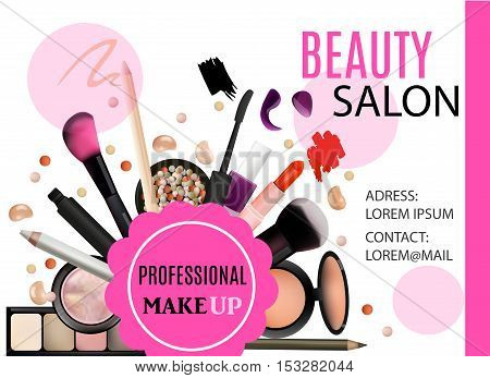Beauty Salon Design. Cosmetic Products Professional Make Up Care. Printable Template for Business Banner Poster Voucher Booklet. Vector Illustration