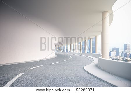 Road Tunnel With City View