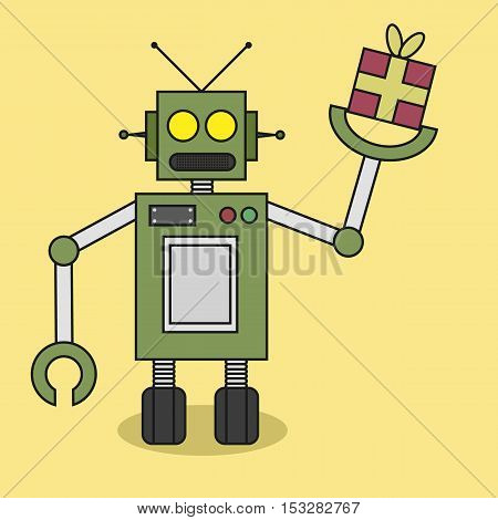 Robot Bring Gift or Present Flat Design