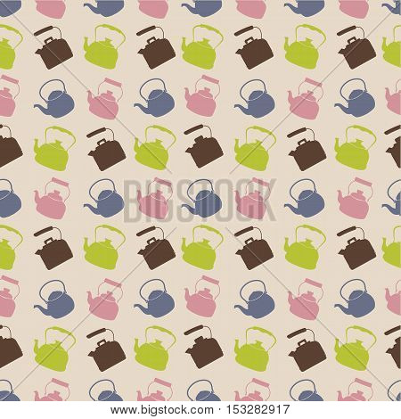 Seamless Colorful Pattern with Kettle. Vector background with different teapots. Endless kitchen texture.