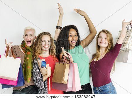 Women Shopping Spending Consumerism Shopaholic Concept