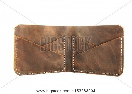 Grey leather opened purse isolated on white