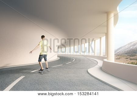 Young man on skateboard in modern road tunnel with landscape view. 3D Rendering
