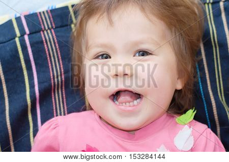 cheerful Little girl portrait happy cute laughing