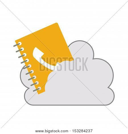 white cloud shape with directory notebook icon. isolated design. vector illustration