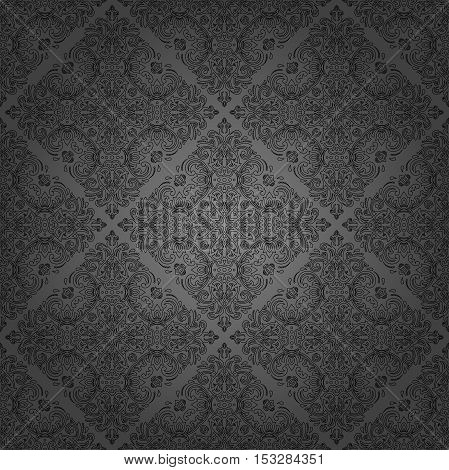 Damask vector classic dark pattern. Seamless abstract background with repeating elements