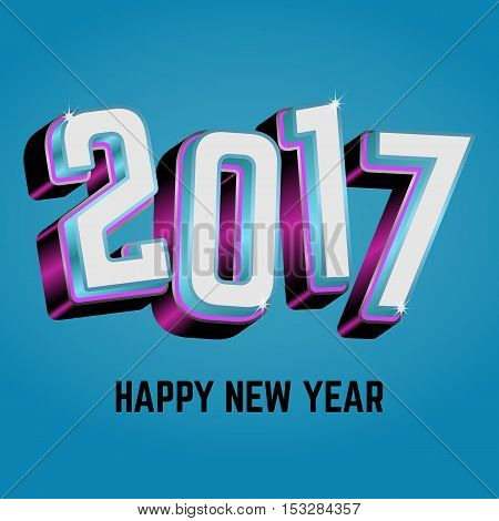 Happy New Year. 2017 New Year 3d numbers on a blue background. Vector illustration.