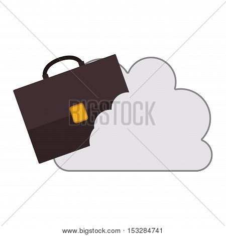 white cloud shape with briefcase icon. isolated design. vector illustration