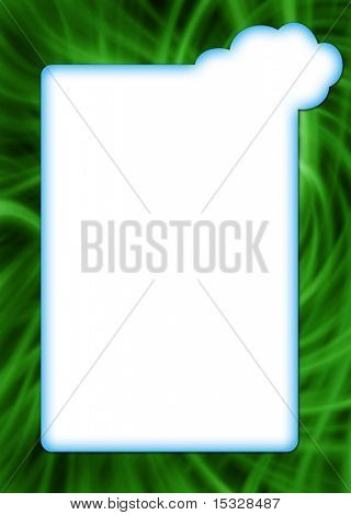 Cloud on a green grass vertical - blank for your message