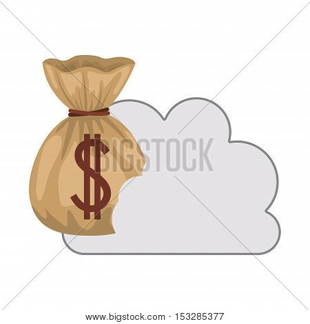 white cloud shape with money sack icon. isolated design. vector illustration