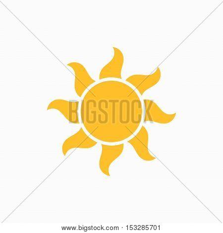 Simple flat design sun icon isolated illustration