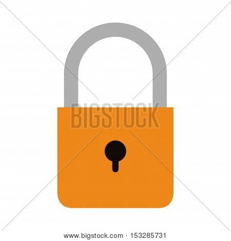 security padlock with keyhole icon over white background. vector illustration