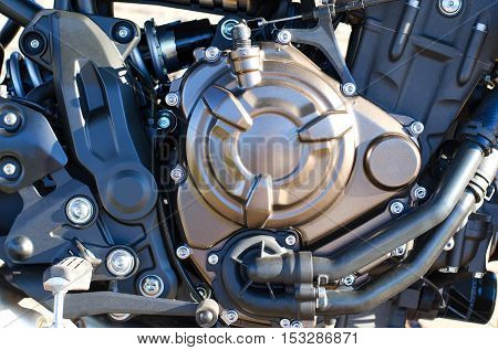 Motorcycle engine background. Close up of detail.