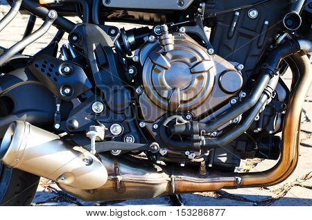 Close up of motorcycle engine background.Detail background.