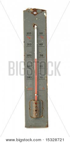 Vintage thermometer isolated on white