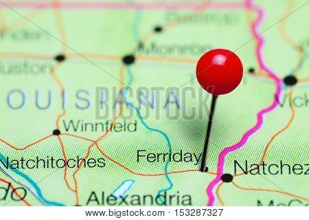 Ferriday pinned on a map of Louisiana, USA