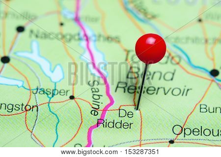 De Ridder pinned on a map of Louisiana, USA