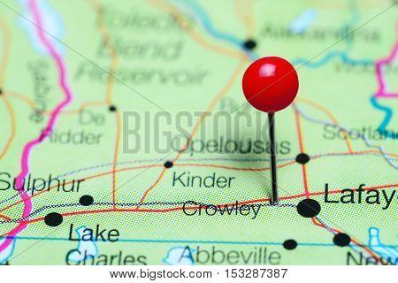 Crowley pinned on a map of Louisiana, USA