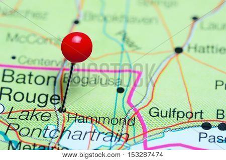 Hammond pinned on a map of Louisiana, USA