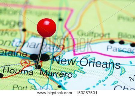 Marrero pinned on a map of Louisiana, USA
