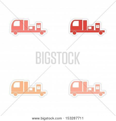 assembly realistic sticker design on paper Truck delivery