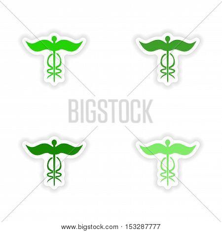 assembly realistic sticker design on paper medical emblem