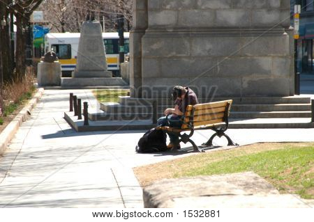 Sleeping On Park Bench