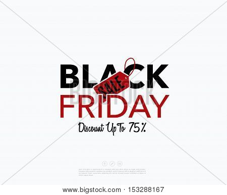 Black Friday sale design template. Creative label banner. Vector illustration, marketing price tag, discount, advertising. Abstract vector illustration for shopping.