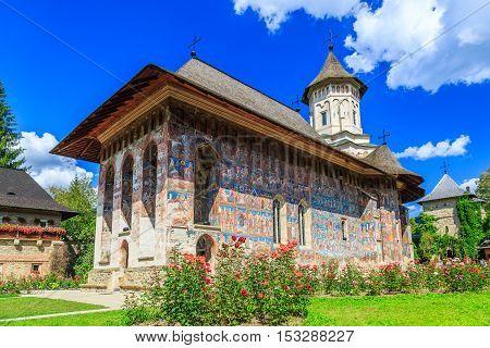 The Moldovita Monastery, Romania. One of Romanian Orthodox monasteries in southern Bucovina.