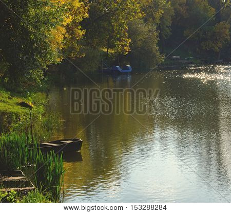 Autumn season landscape at the Tisza (Tisa) backwater in Tiszalok, Hungary. Wooden boats and benches and yellow leaves of trees. Green reed. Hungarian countryside.