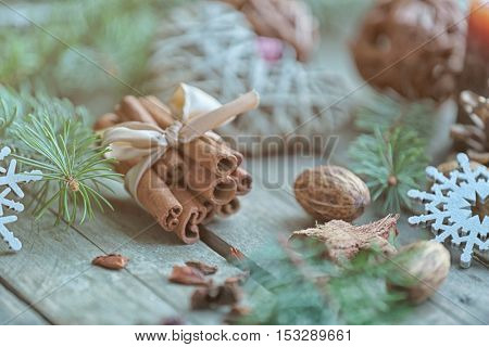 Cinnamon sticks and natural decor on wooden background, close up view