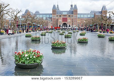 AMSTERDAM- May 10: The Rijksmuseum in Amsterdam Netherlands on May 10, 2016. The Rijksmuseum is the most important art museum in the Netherlands with thousands of old paintings in its collection.