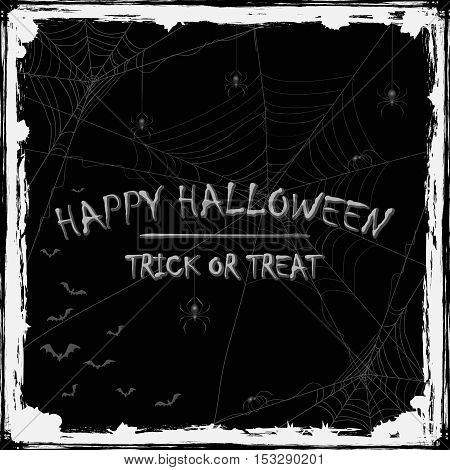 Abstract Halloween background with black spiders, cobwebs and flying bats, holiday theme with grunge decoration and inscriptions Happy Halloween and Trick or Treat, illustration.