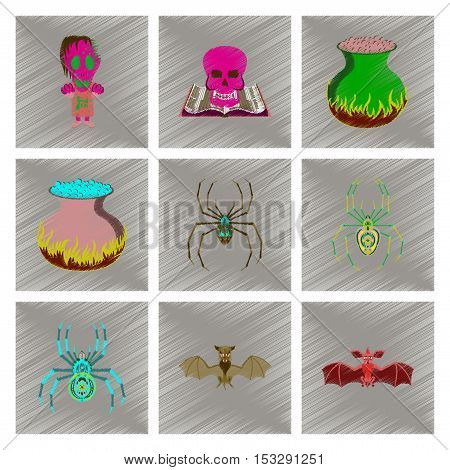 assembly flat shading style icon of halloween monster spider book skull cauldron bat