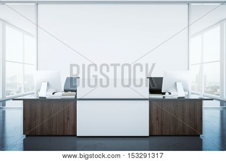 Modern reception desk and blank banner in interior with city view. Mock up 3D Rendering