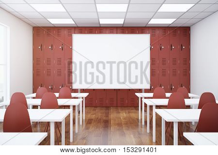 Contemporary red classroom interior with empty whiteboard desks and chairs. Mock up 3D Rendering. School concept