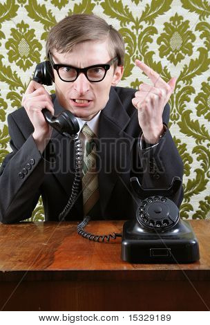 Retro manager angry on the phone