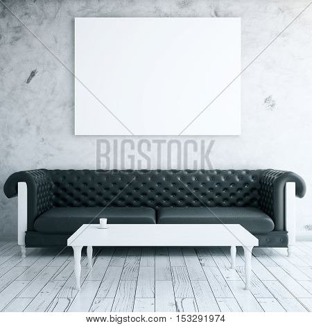 Front view of interior with blank whiteboard leather sofa and coffee table. Mock up 3D Rendering