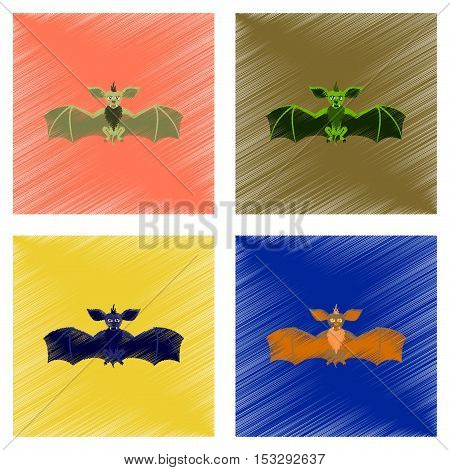 assembly flat shading style icon of cute bat