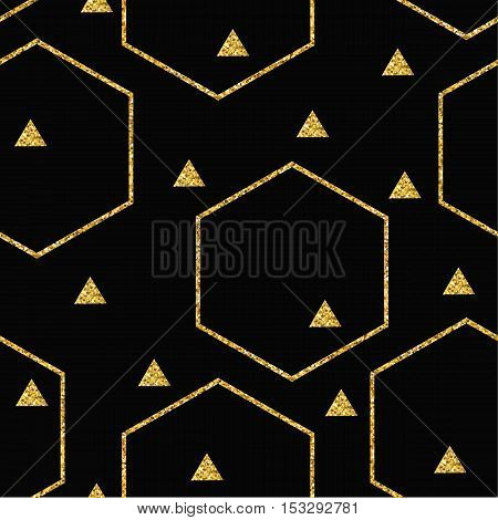 Abstract geometric seamless pattern with glitter triangles and hexagons. Vector background for Christmas and New Year design. For paper cover fabric interior decor and other users.