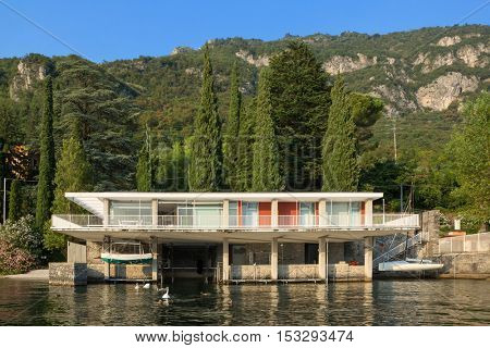 concrete house on the lakeside, scenic view