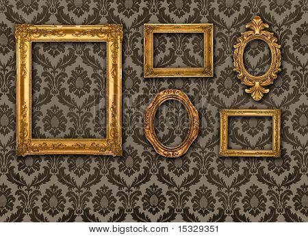 Gold frames, retro wallpaper, please check for more