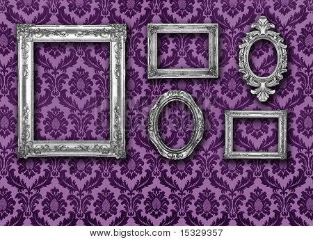 Silver frames, retro wallpaper, please check for more
